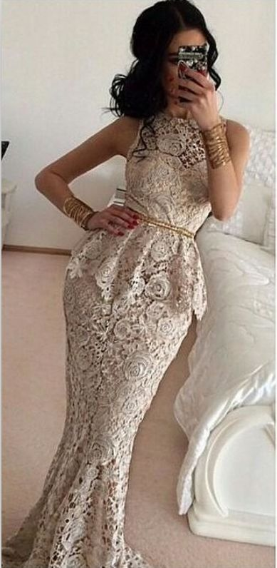 Sweep Train Long Mermaid Lace Peplum Prom Dress