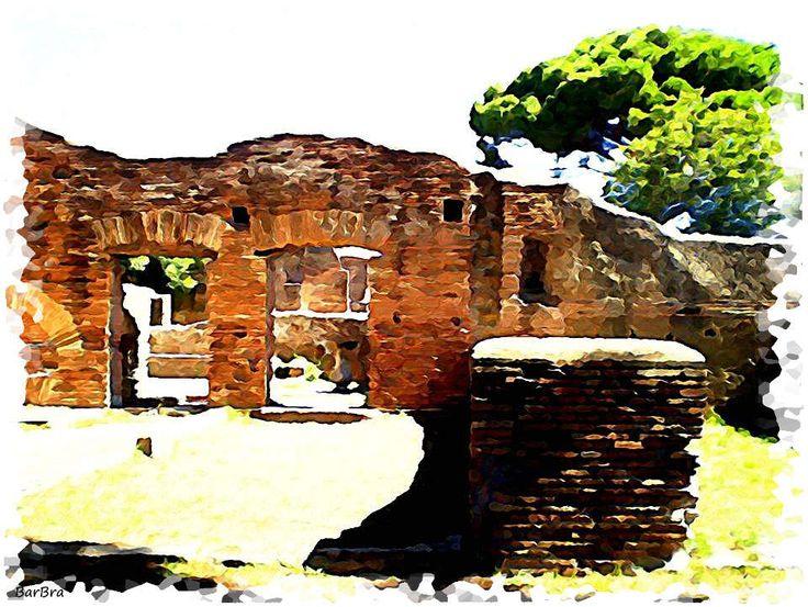 Ostia Antica ... l� dietro il Thermopolium ...... di cui si intravede, in fondo, la parte all'aperto con la panca in muratura e la fontana