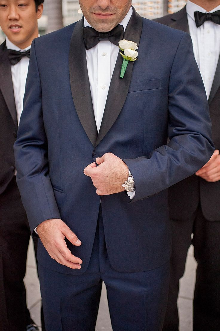 every last detail | wedding inspiration | groom | groomsmen | navy blue | black lapels | black bow tie