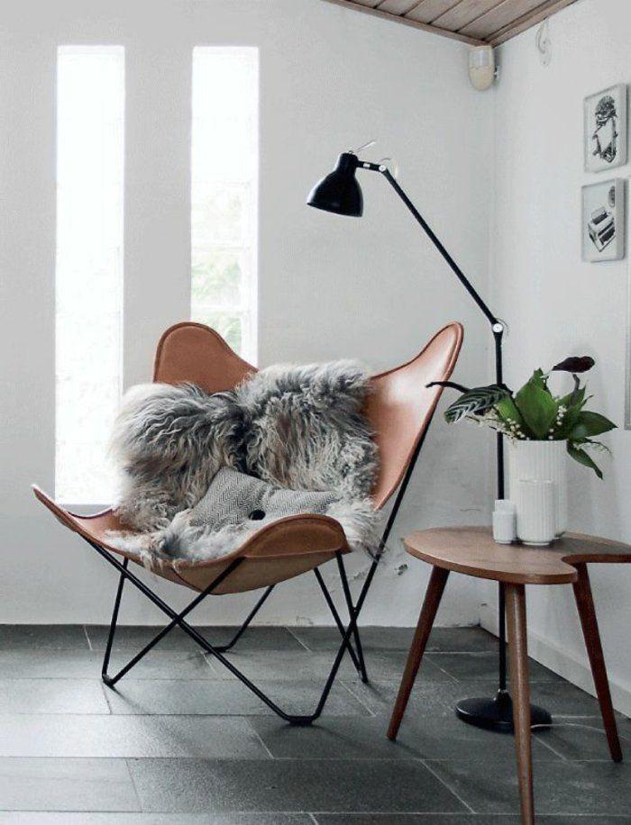 fauteuil lecture | fauteuil-de-lecture-en-cuir-pour-le-salon-moderne-avec-carrelage-gris ...