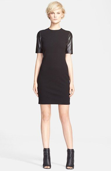 Vince Leather Sleeve Pencil Dress available at #Nordstrom