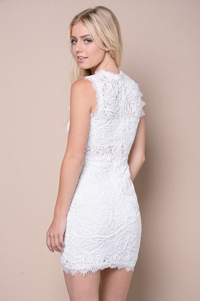"Turn heads with this white lace bodycon dress! The sleeveless design and eyelash lace detailing makes it a feminine piece that is still sexy!   100% Polyester Hand Wash Cold Imported   Model is wearing size S Model is 5' 10"" / Bust: 34"" / Waist: 25"" / Hip: 36"""