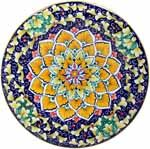 Ceramic Majolica Plate G12 FDL Blue Yellow 739 25cm