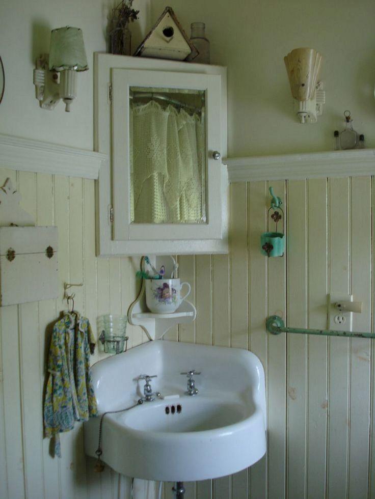 25+ Lovely Corner Bathroom Sink Ideas for Small Bathroom Inspiration / FresHOUZ.com