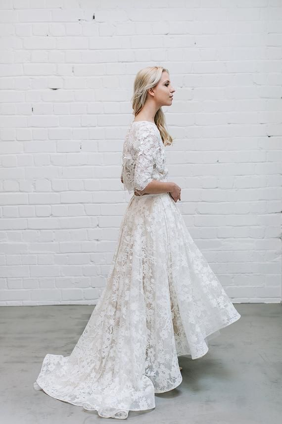 Lace Wedding Skirt With High Low Hem Bridal Lace Skirt