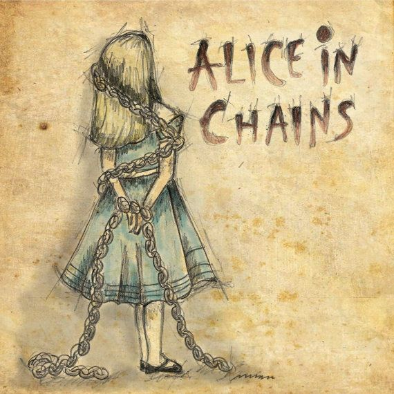 Alice in Chains  Alice in Wonderland 6x6 Framable by mollymattin