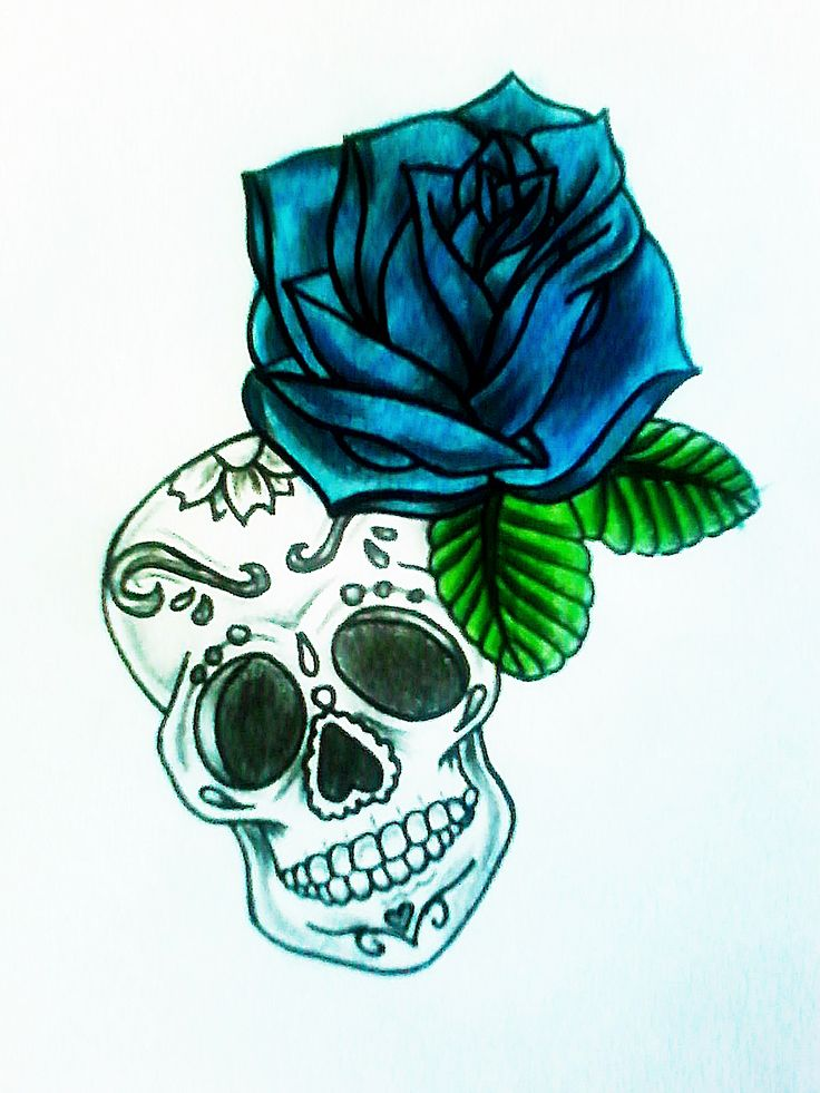 mexican skull rose tattoo
