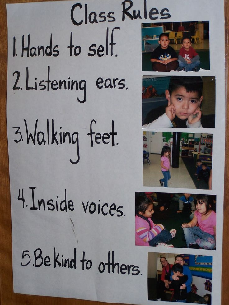 Illustrated classroom rules using pictures of the kids in your class.
