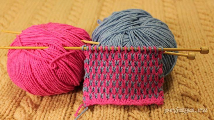 Двухцветный узор спицами со снятыми петлями