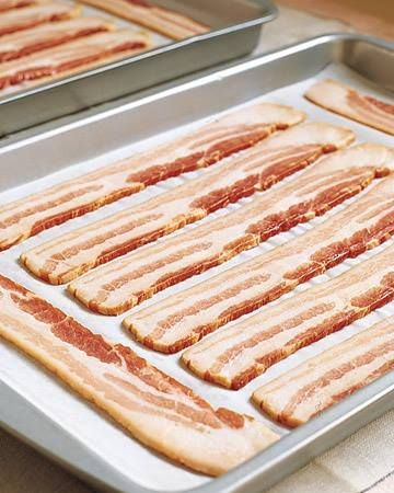 Bacon - The trick is to put the pan in a cold oven and then switch it on and begin your timer. Im amazed how many people dont know this. Cook bacon in the oven. Cover cookie sheet with tinfoil first. We do 375 for about 20 min instead of 400 for ten because the lower and slower the more fat renders out.