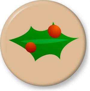 Christmas leaf decoration vector - Button Badge - Brooch - Gift
