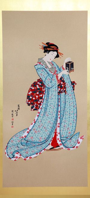 he beautiful woman of the year  (1806-1813)              Because the girl holds the insect cage, it is clear that               is  and a pair.              She appears a merchant's daughter because of her              kimono and hairstyle.              Youth is emphasized in  as well as .              The Yuzen Ukiyo-e work expresses the softness of              the long-sleeves and her white skin.