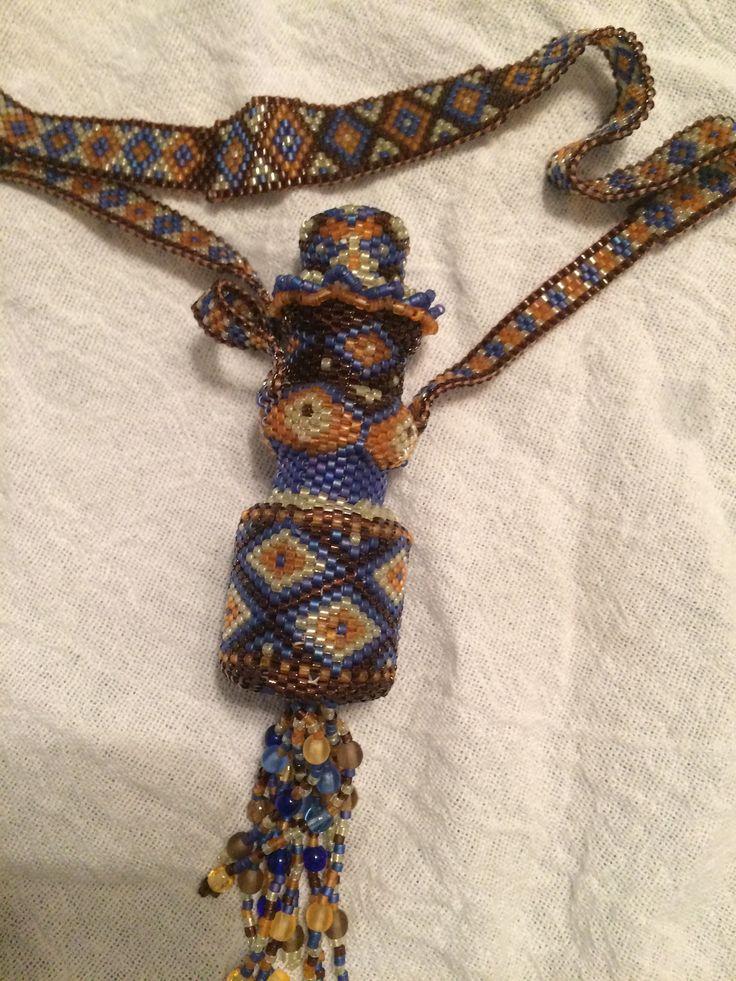 Beaded bottle. Tubular peyote stitch using delica beads.