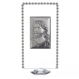 Cuadro Rectangular Jesucristo, plata y strass, 12x6 cm | venta online en HOLYART