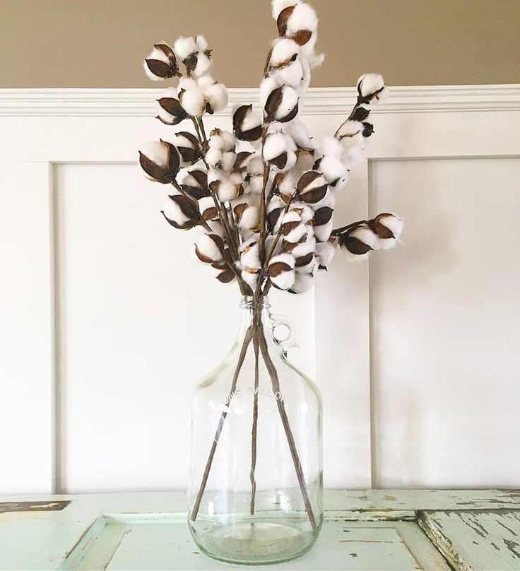 """This beautiful glass jug and cotton stems adds a beautiful and simple farmhouse look to any home 25""""X7"""""""