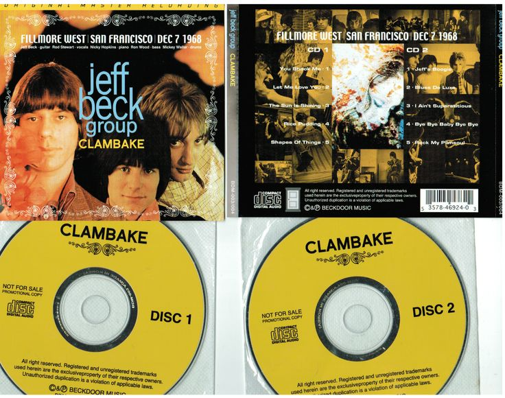 Jeff Beck 2CD Clambake Fillmore West 12/7/1968 Beckdoor Music