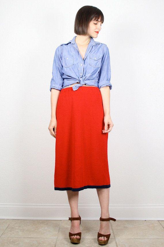 Vintage Red Skirt 80s Skirt Knit Skirt Midi Skirt Navy Blue Stripe Trim Pencil Skirt Tea Length Sweater Skirt Red Blue 1980s Skirt M L Large... #vintage #etsy #80s #1980s #skirt #midi #sweater #knit #red #preppy