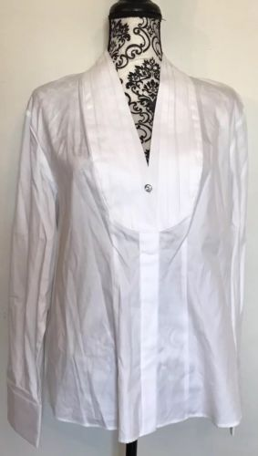 5ef048041ba44 Orvis-Women-s-White-Dress-Shirt-Deep-V-Neck-Bling-Gem-Button-Blouse-Size-18