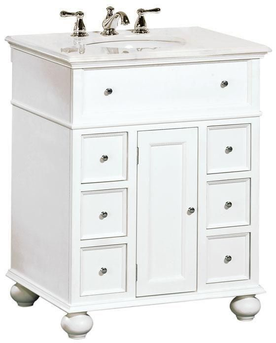 "Hampton Bay 28""W Single Bath Vanity With White Marble Top"