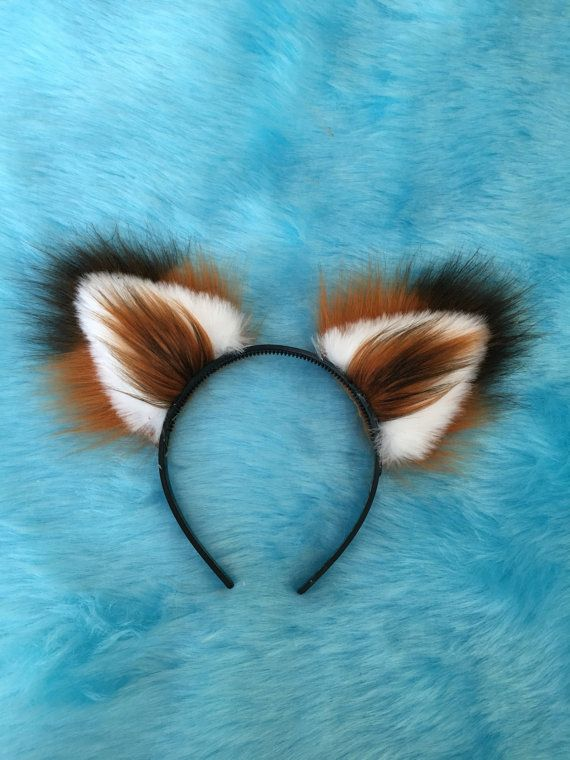 Fox Ears Long Fur on a headband Unisex by Fistyfurs. by Feistyfurs