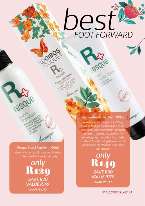Annique Health & Beauty October 2017 Specials. A must have for every medicine cabinet & first aid box.  Nothing comes close to this product range. Resque Insect Repellent & Foot Repair Balm