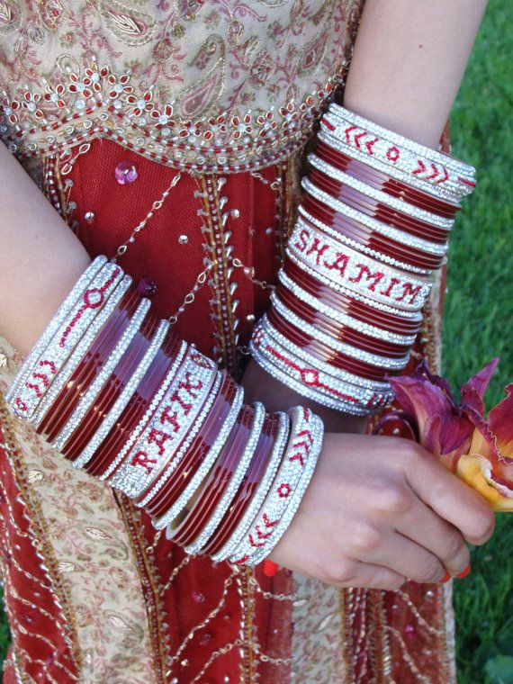 Personalized Chura With Bride Groom Names Choora Shaadi Dulhan Wedding Jewelry Gift Lengha Indian Bangles Bollywood