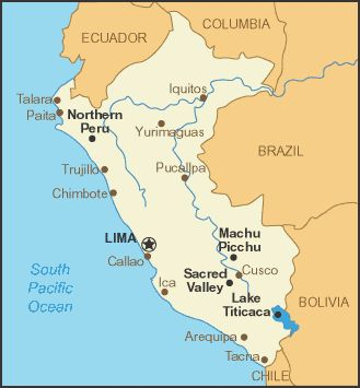 A.   Peru and its major cities.