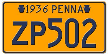 1936 PENNSYLVANIA STATE LICENSE PLATE--EMBOSSED WITH YOUR CUSTOM NUMBER