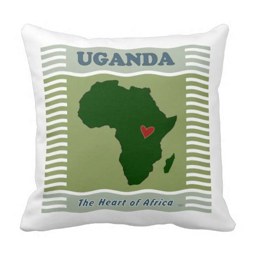 """This is an original design by artist Kololo created in July 2013. It is a travel poster for the country of Uganda. The words are """"Uganda, the heart of Africa"""". The design is an outline map of Africa with a red heart where Uganda is located."""