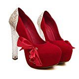 #7: Xianshu cristal de tacón alto de la cinta de discotecas pajarita impermeable zapatos