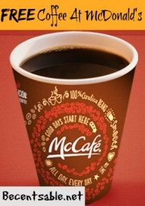Get free coffee at McDonald's during the two week FREE McCafe Coffee Event.