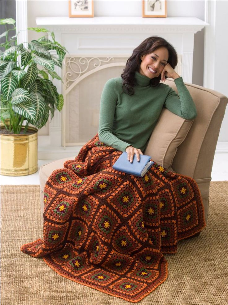Beautiful autumn throw autumn crochet and afghans for Fave crafts knitting patterns