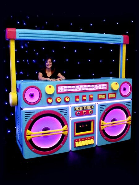 Giant Ghetto Blaster Prop With Lights - Neon Blue