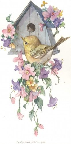 Touch of Gold ...Carolyn Shores Wright - bird and birdhouse