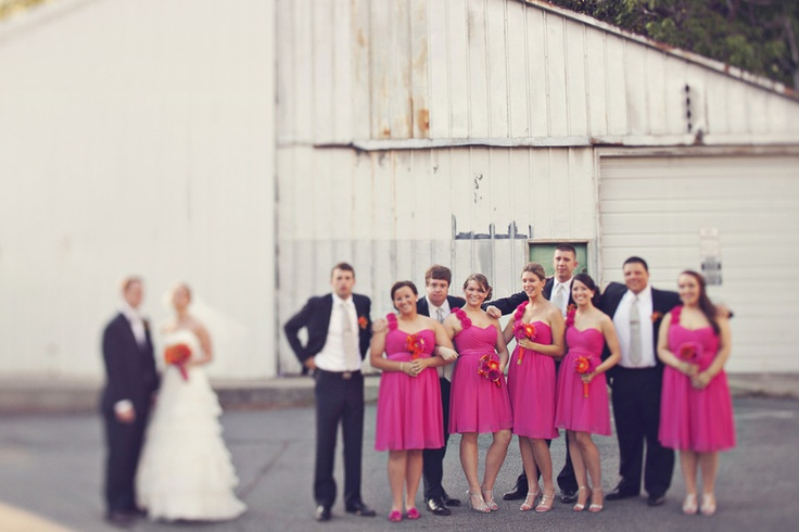 Hot pink and pretty maids via Style Me Pretty~ Georgia / Photography by ourlaboroflovebyheidi.com