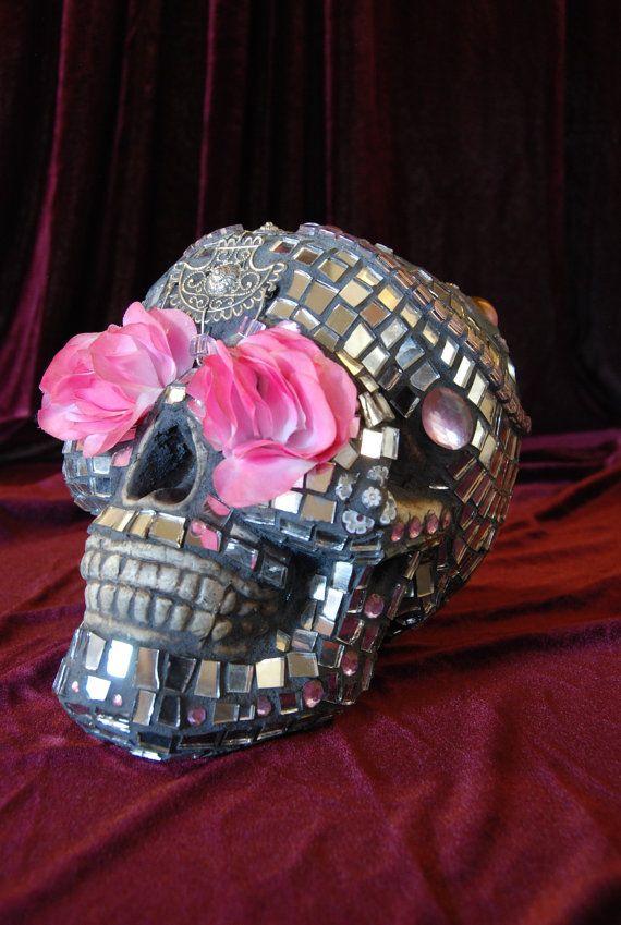 Anita's Mosaics - awesome mosaic skull!! http://www.facebook.com/anitasmosaics?ref=ts #flower #sugar skull #handmade skull