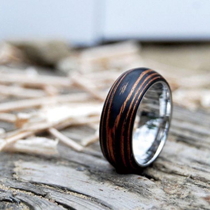 Titanium Wood Wedding Band Ring With Ebony Amp Mahogany By