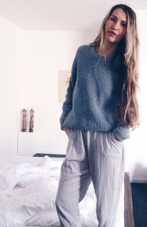 Eco + fair outfit: jumper from upcycled denim by MUD & organic bamboo pants by The Great Beyond
