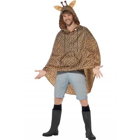 Party regenponcho giraffe. Deze poncho voor volwassenen met giraffe print en oren op de capuchon is waterafstotend en erg geschikt voor bijvoorbeeld een buiten feest of festival. De poncho word geleverd in een bijpassend zakje met koord.