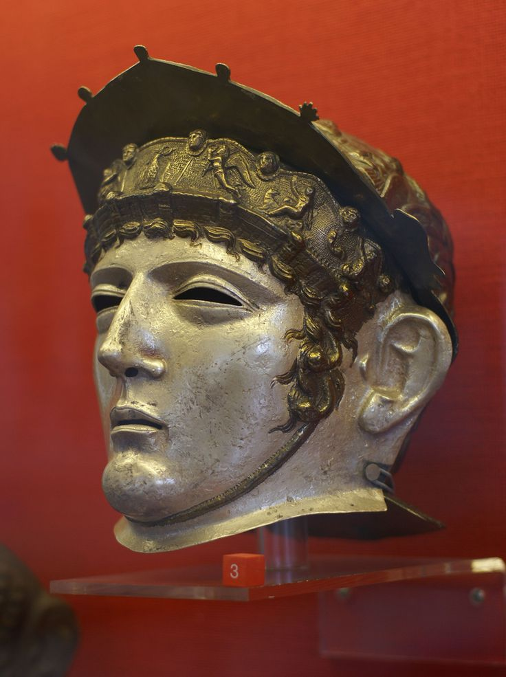 Römischer Gesichtshelm (Roman face helmet). RGZM (Romano-Germanic Central Museum), Mainz