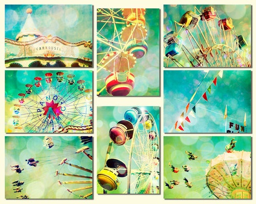 Carnival Photos Nursery Art, Turquoise, Ferris Wheel by Bomobob eclectic nursery decor