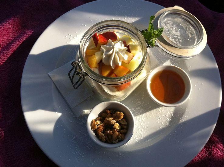 Fruits, yogurt, nuts and honey. Καλή Όρεξη (Kali Oreksi) #greekbreakfast #marbellacorfu #greece