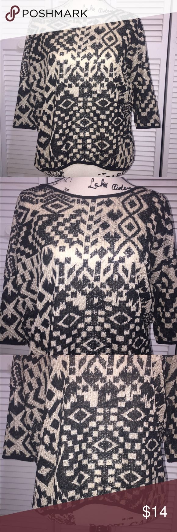 Wallpapher Black Aztec Blouse BRAND: Wallpapher   FABRIC: 100% Polyester   Condition: Excellent   SIZE: SMALL   Bust: 36   Shoulder to shoulder: 18    Length: 23    ALLERGY/SMELL CONCERNS? Pet free home/Smoke free home  FEEL FREE TO CHECK OUT ANY OF MY OTHER LISTINGS. THANKS, IN ADVANCE !  BEING A NEW SELLER I'D LIKE TO DO MY BEST TO SATISFY ALL CUSTOMERS NEEDS. PLEASE CONTACT ME   IF THERE ARE ANY ISSUES OR OTHER CONCERNS BEFORE LEAVING NEGATIVE/NEUTRAL FEEDBACK.   GREATLY…