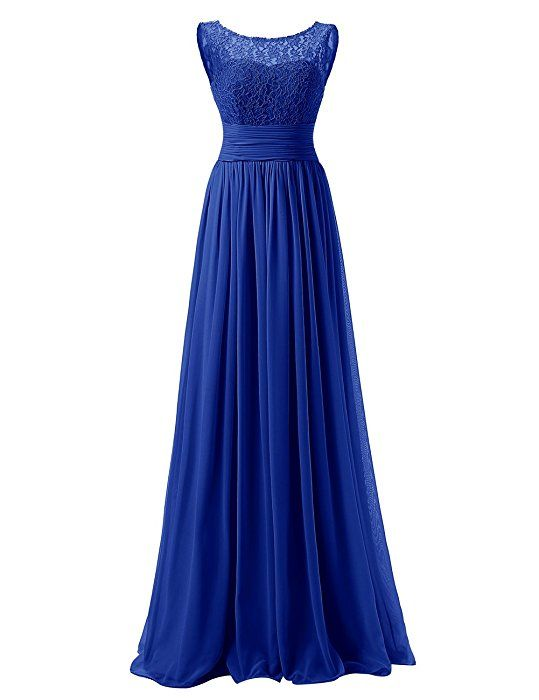 Dresstells Long Prom Dress Scoop Bridesmaid Dress Lace Chiffon Evening Gown Royal blue Size 6