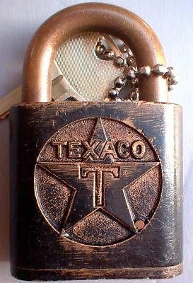 antique vintage TEXACO gas oil diesel fuel truck embossed padlock lock w key