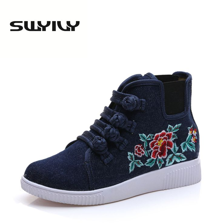 2017 New Flower Embroidered Spring Summer Women Skateboarding  Shoes Plate Buckle High-top Lacing Chinese Style Women Sneakers