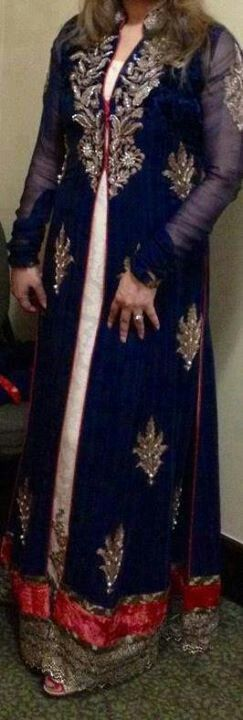 Beautiful Jacket Style Full Length Party Wear Anarkali...Perhaps useful style card for the indianroots materials?