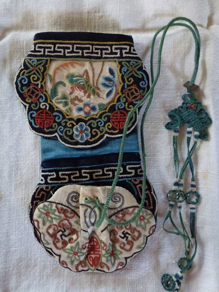 """VERY VERY FINE ANTIQUE CHINESE SILK """"BELT"""" PURSE,  WITH A SPECIAL, LUCKY CRICKET"""