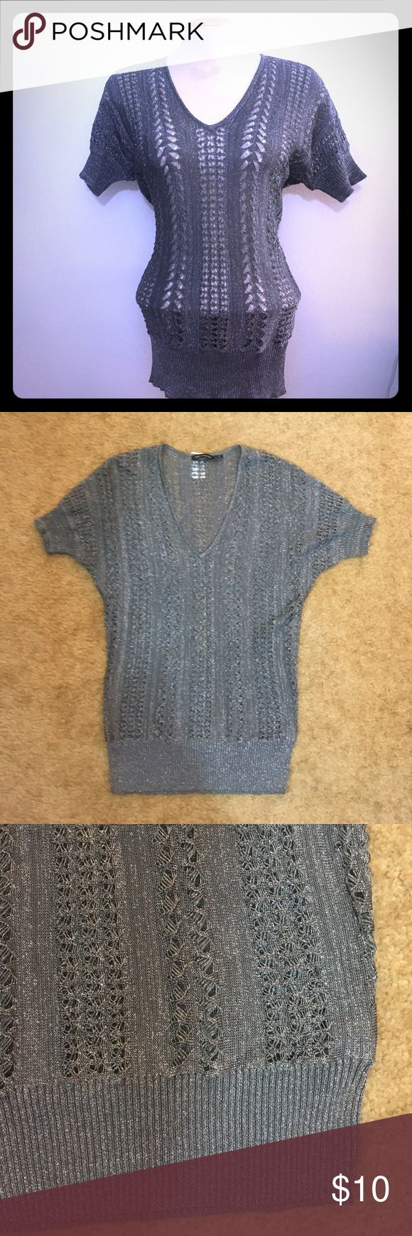 The Limited Sweater Grey and silver short sleeve top in great condition. The Limited Sweaters V-Necks