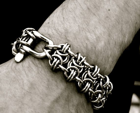BLACKMAiL - EXECUTiONER Stainless Steel CHAINMAiL Biker Cuff -  SoA Sons of Anarchy Punk - Gothic FURiOSA / Mad Max HEAVY METAL Bracelet